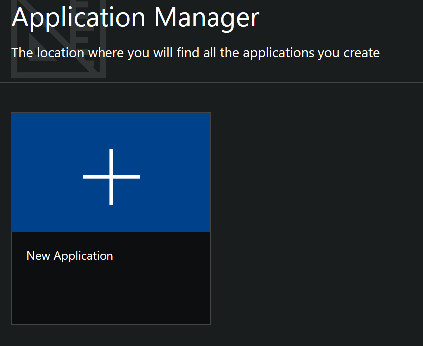 New Application Button
