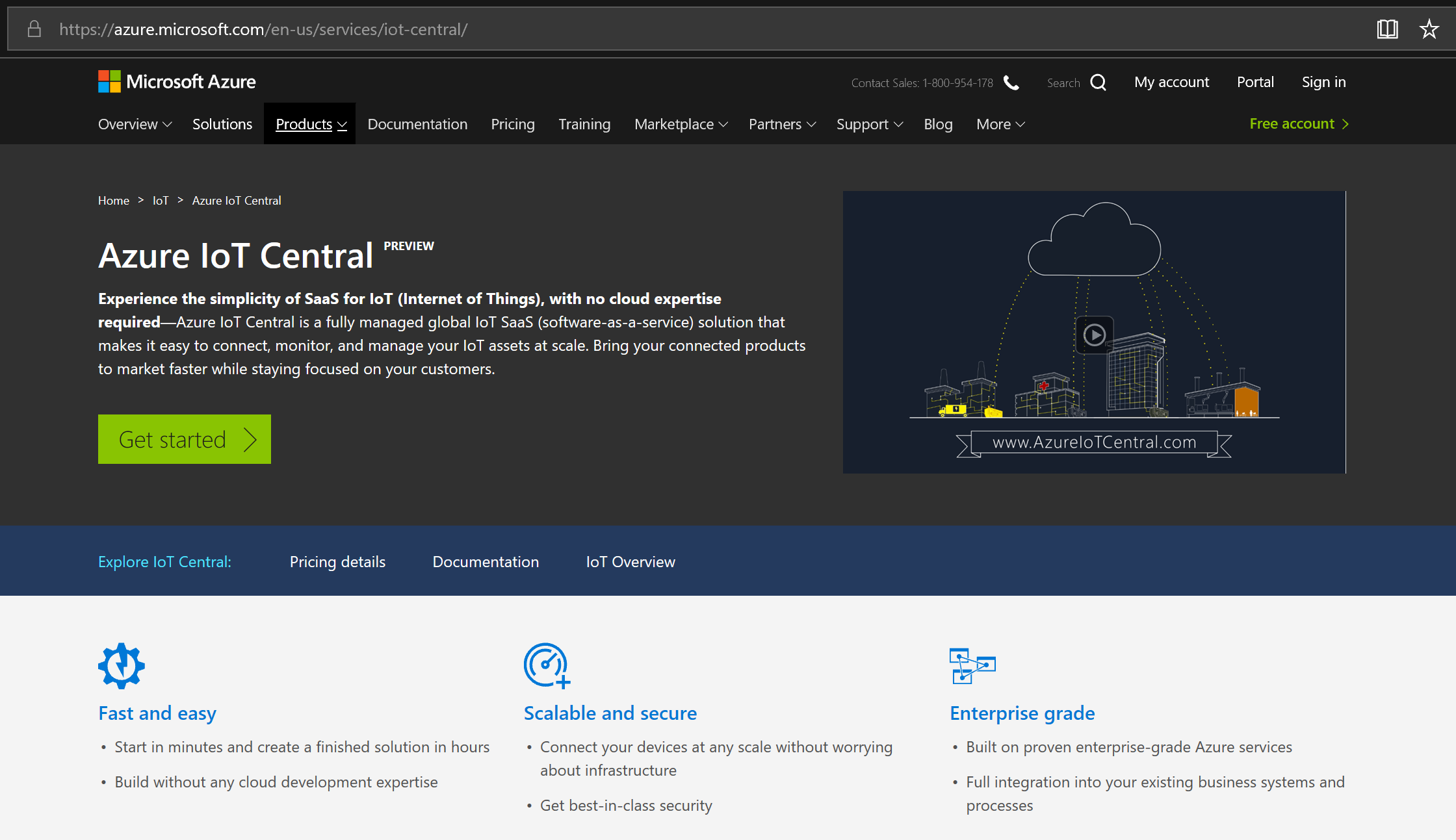 IoT Central Main Page
